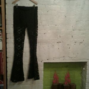 Sexy lace sheer bellbottom pants; never worn!